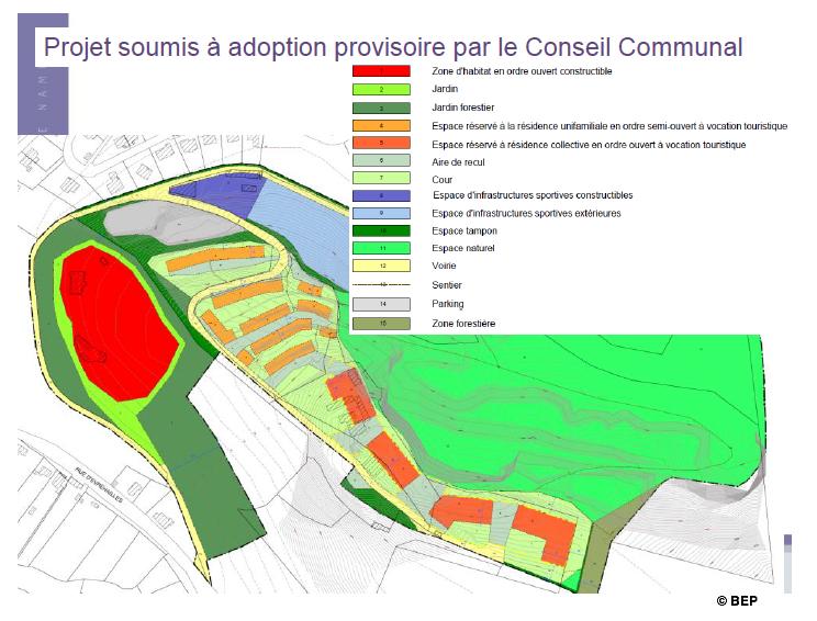 Le PCA du Launois tel qu'approuvé par le Conseil communal de ce 20 octobre 2014.
